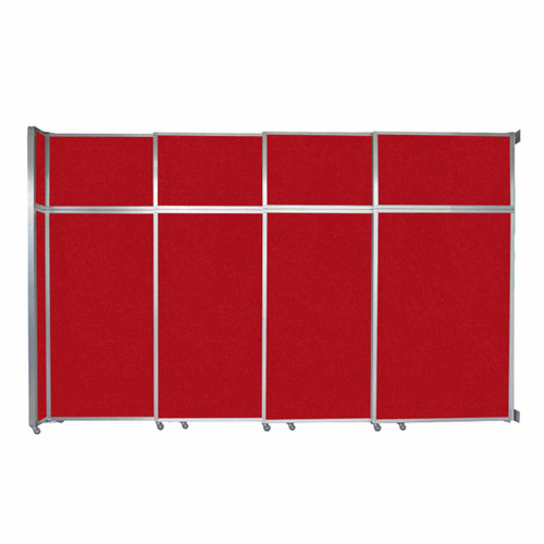 """Operable Wall Sliding Room Divider 12'8"""" x 8'5-1/4"""" Red Fabric"""