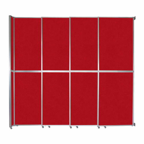"""Operable Wall Sliding Room Divider 12'8"""" x 12'3"""" Red Fabric"""