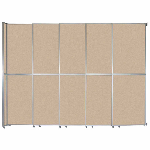 "Operable Wall Sliding Room Divider 15'7"" x 12'3"" Beige Fabric"