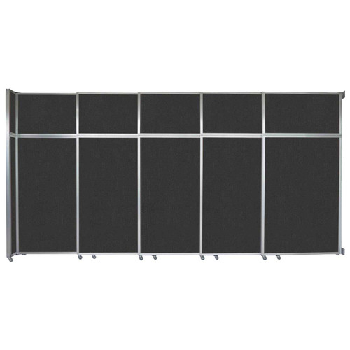 "Operable Wall Sliding Room Divider 15'7"" x 8'5-1/4"" Black Fabric"