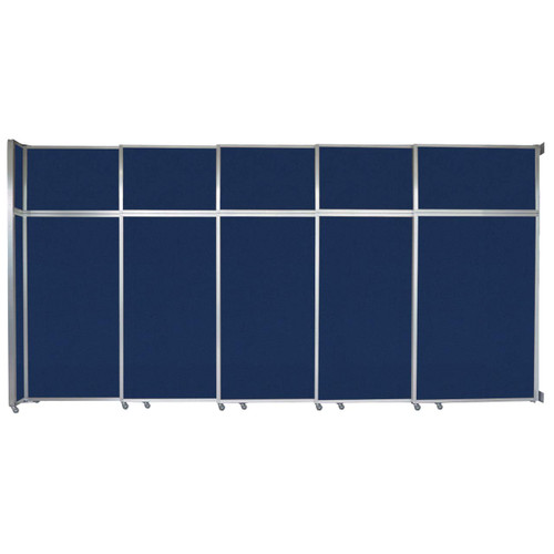 "Operable Wall Sliding Room Divider 15'7"" x 8'5-1/4"" Navy Blue Fabric"
