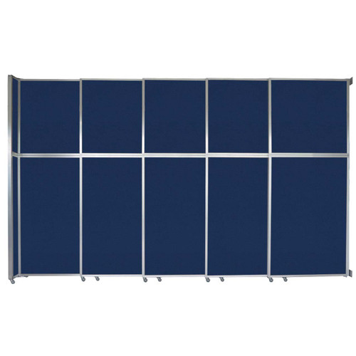 "Operable Wall Sliding Room Divider 15'7"" x 10'3/4"" Navy Blue Fabric"