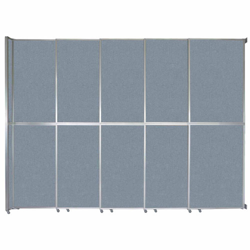 "Operable Wall Sliding Room Divider 15'7"" x 12'3"" Powder Blue Fabric"