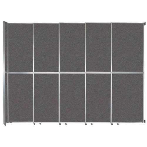 """Operable Wall Sliding Room Divider 15'7"""" x 12'3"""" Charcoal Gray Fabric"""