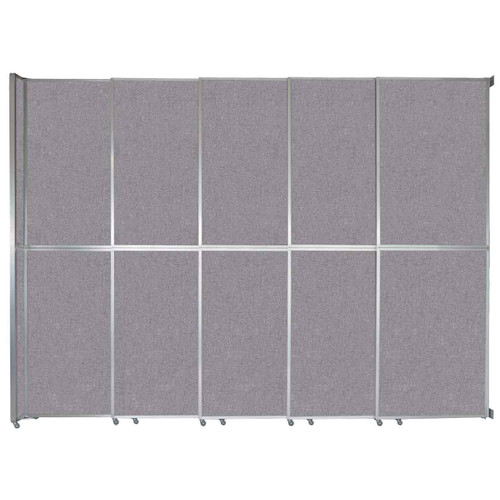 "Operable Wall Sliding Room Divider 15'7"" x 12'3"" Cloud Gray Fabric"