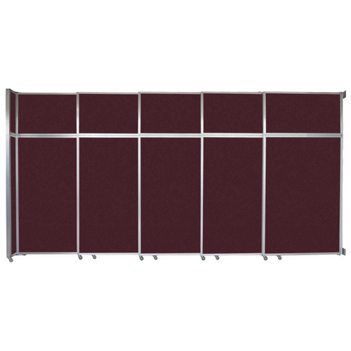 """Operable Wall Sliding Room Divider 15'7"""" x 8'5-1/4"""" Cranberry Fabric"""