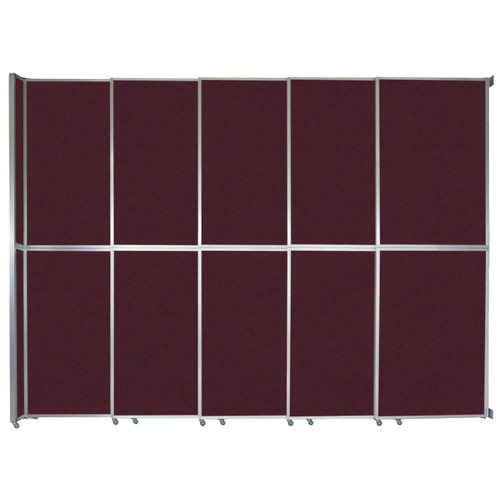 "Operable Wall Sliding Room Divider 15'7"" x 12'3"" Cranberry Fabric"