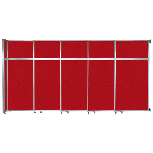 """Operable Wall Sliding Room Divider 15'7"""" x 8'5-1/4"""" Red Fabric"""