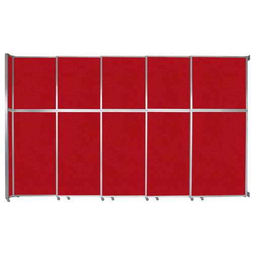 """Operable Wall Sliding Room Divider 15'7"""" x 10'3/4"""" Red Fabric"""