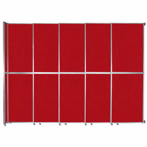 """Operable Wall Sliding Room Divider 15'7"""" x 12'3"""" Red Fabric"""
