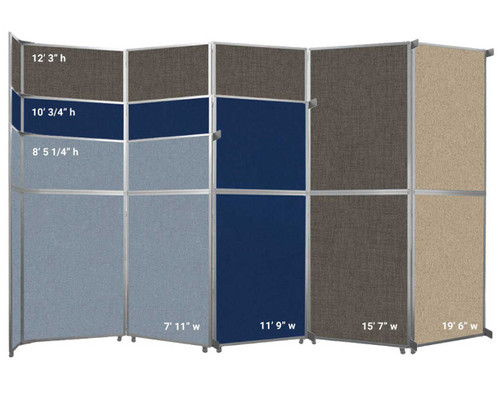 The Operable Wall Folding Room Divider comes in 4 widths and 3 heights.
