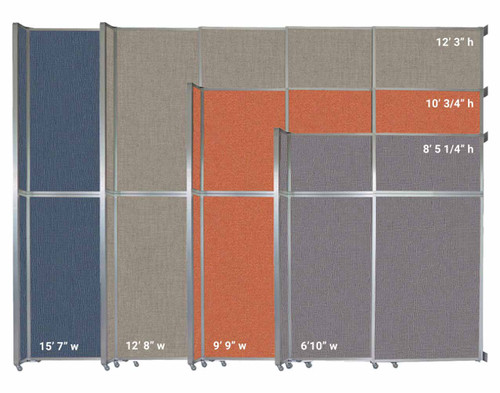 The Operable Wall Sliding Room Divider comes in 4 widths and 3 heights.