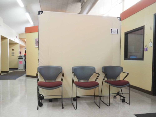 The VP6 is a perfect rolling partition that is commonly used in waiting rooms or holding areas.