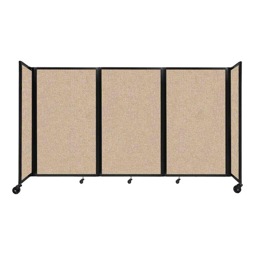 """Room Divider 360 Folding Portable Partition 8'6"""" x 5' Beige Fabric"""