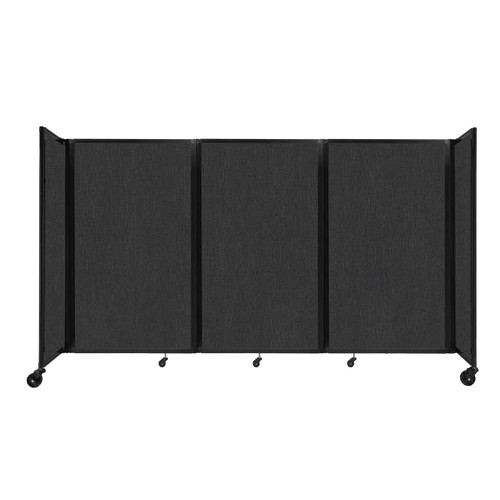 """Room Divider 360 Folding Portable Partition 8'6"""" x 5' Black Fabric"""