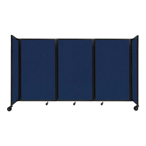 """Room Divider 360 Folding Portable Partition 8'6"""" x 5' Navy Blue Fabric"""