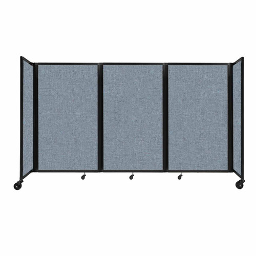 """Room Divider 360 Folding Portable Partition 8'6"""" x 5' Powder Blue Fabric"""