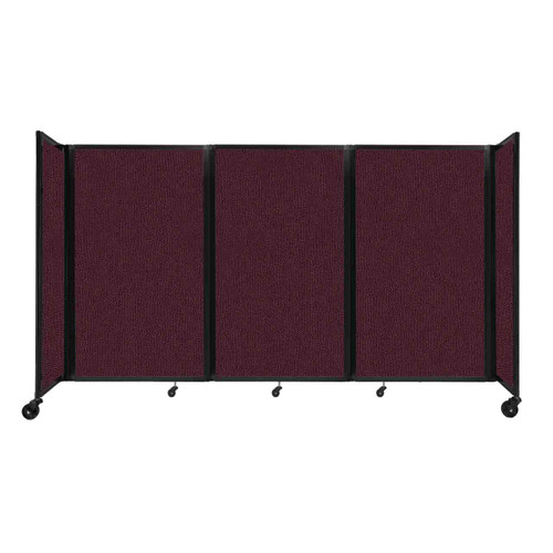 """Room Divider 360 Folding Portable Partition 8'6"""" x 5' Cranberry Fabric"""
