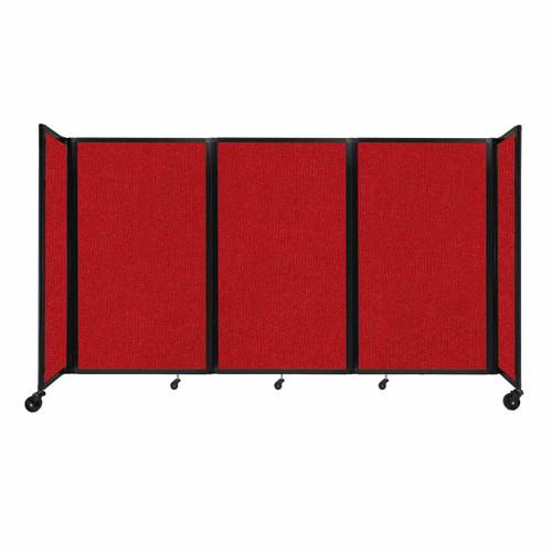 """Room Divider 360 Folding Portable Partition 8'6"""" x 5' Red Fabric"""
