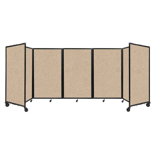 """Room Divider 360 Folding Portable Partition 14"""" x 5' Beige Fabric"""