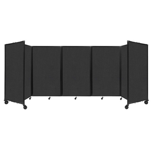 """Room Divider 360 Folding Portable Partition 14"""" x 5' Black Fabric"""