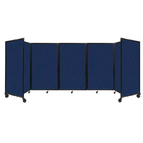 """Room Divider 360 Folding Portable Partition 14"""" x 5' Navy Blue Fabric"""