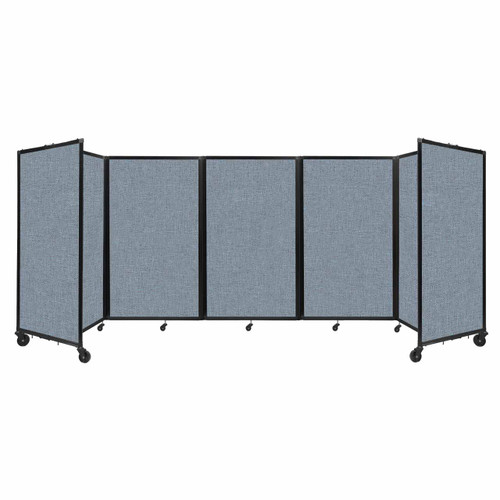 """Room Divider 360 Folding Portable Partition 14"""" x 5' Powder Blue Fabric"""