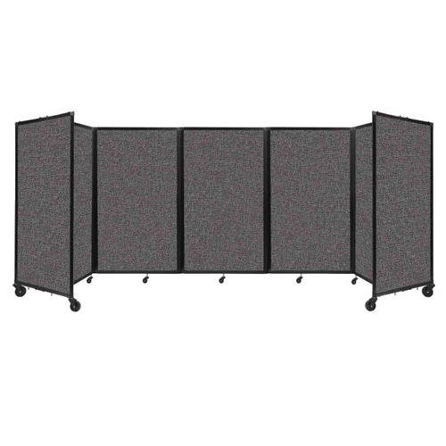 """Room Divider 360 Folding Portable Partition 14"""" x 5' Charcoal Gray Fabric"""
