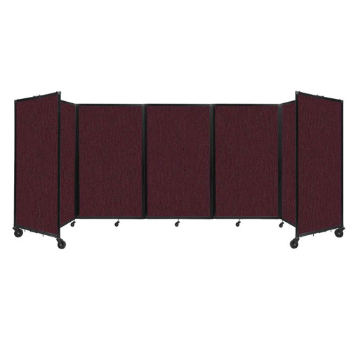 """Room Divider 360 Folding Portable Partition 14"""" x 5' Cranberry Fabric"""
