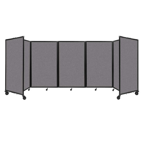 """Room Divider 360 Folding Portable Partition 14"""" x 5' Slate Fabric"""