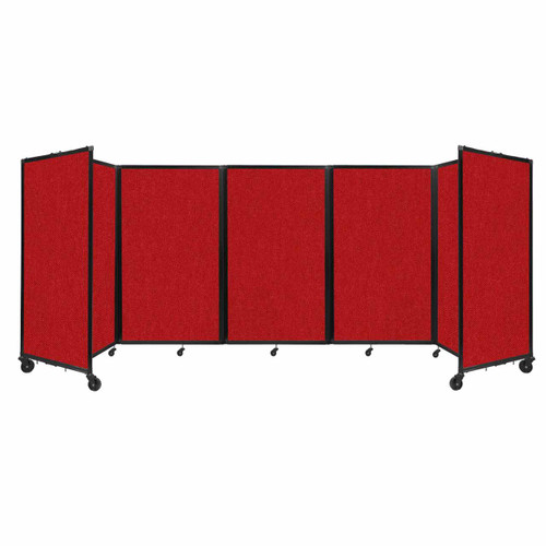 """Room Divider 360 Folding Portable Partition 14"""" x 5' Red Fabric"""
