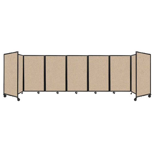 """Room Divider 360 Folding Portable Partition 19'6"""" x 5' Beige Fabric"""