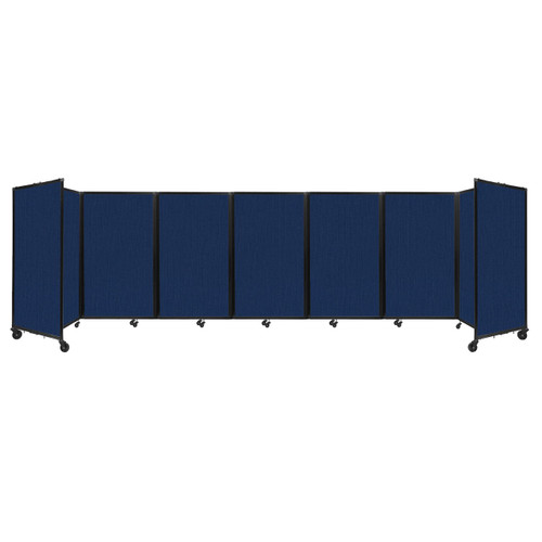 """Room Divider 360 Folding Portable Partition 19'6"""" x 5' Navy Blue Fabric"""