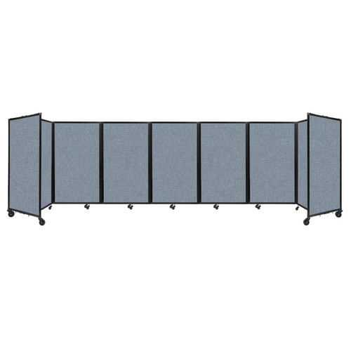 """Room Divider 360 Folding Portable Partition 19'6"""" x 5' Powder Blue Fabric"""