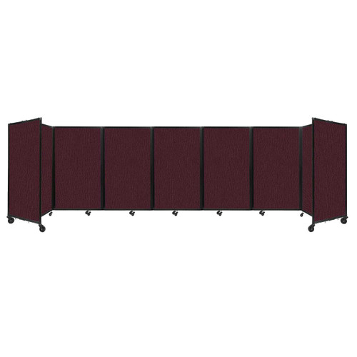 """Room Divider 360 Folding Portable Partition 19'6"""" x 5' Cranberry Fabric"""