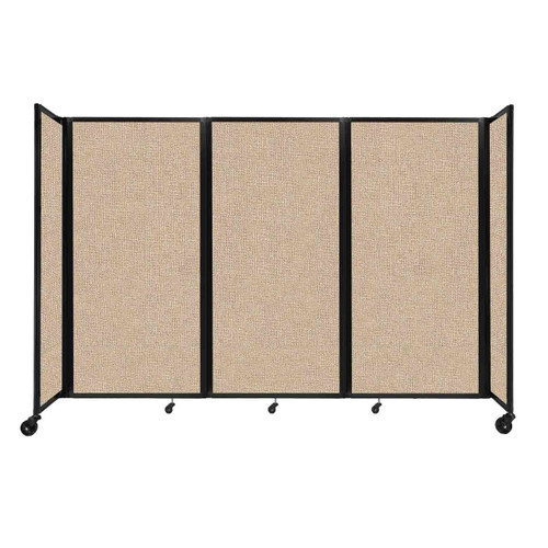 """Room Divider 360 Folding Portable Partition 8'6"""" x 6' Beige Fabric"""