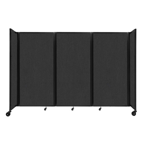 """Room Divider 360 Folding Portable Partition 8'6"""" x 6' Black Fabric"""