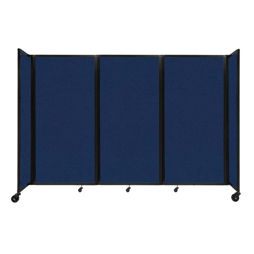 """Room Divider 360 Folding Portable Partition 8'6"""" x 6' Navy Blue Fabric"""