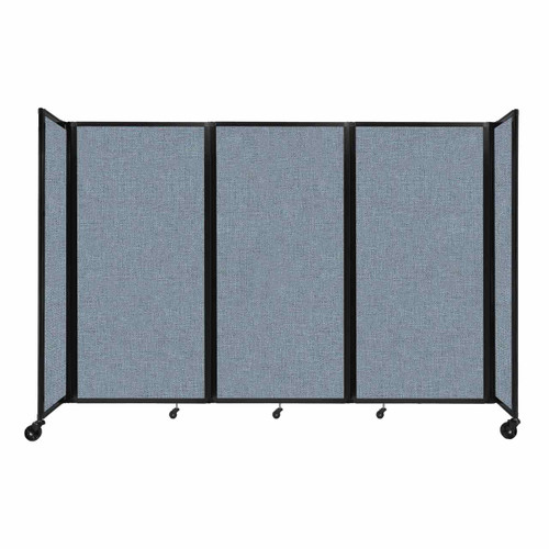 """Room Divider 360 Folding Portable Partition 8'6"""" x 6' Powder Blue Fabric"""