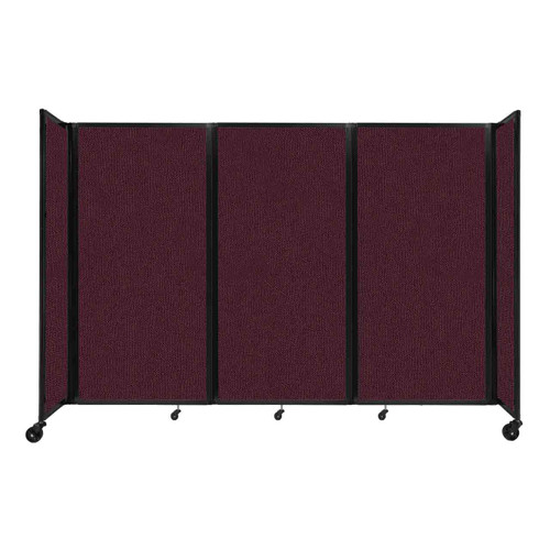 """Room Divider 360 Folding Portable Partition 8'6"""" x 6' Cranberry Fabric"""