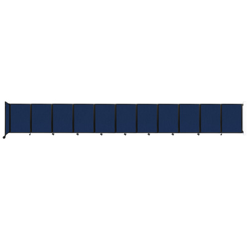 """Wall-Mounted Room Divider 360 Folding Partition 30'6"""" x 4' Navy Blue Fabric"""