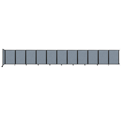 """Wall-Mounted Room Divider 360 Folding Partition 30'6"""" x 4' Powder Blue Fabric"""