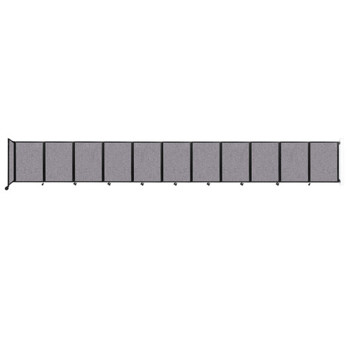 """Wall-Mounted Room Divider 360 Folding Partition 30'6"""" x 4' Cloud Gray Fabric"""