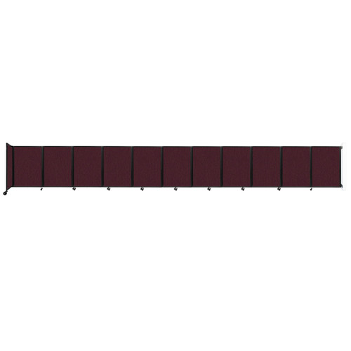 """Wall-Mounted Room Divider 360 Folding Partition 30'6"""" x 4' Cranberry Fabric"""