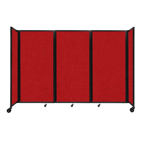 """Room Divider 360 Folding Portable Partition 8'6"""" x 6' Red Fabric"""