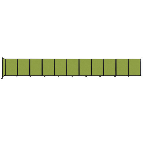 """Wall-Mounted Room Divider 360 Folding Partition 30'6"""" x 4' Lime Green Fabric"""