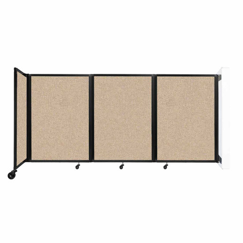 """Wall-Mounted Room Divider 360 Folding Partition 8'6"""" x 4' Beige Fabric"""