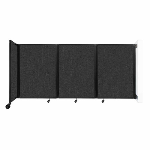 """Wall-Mounted Room Divider 360 Folding Partition 8'6"""" x 4' Black Fabric"""
