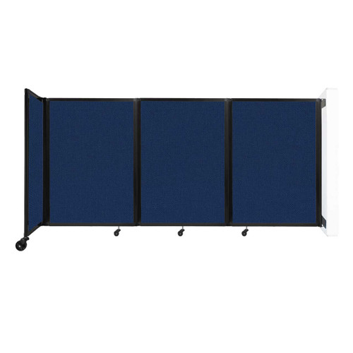 """Wall-Mounted Room Divider 360 Folding Partition 8'6"""" x 4' Navy Blue Fabric"""
