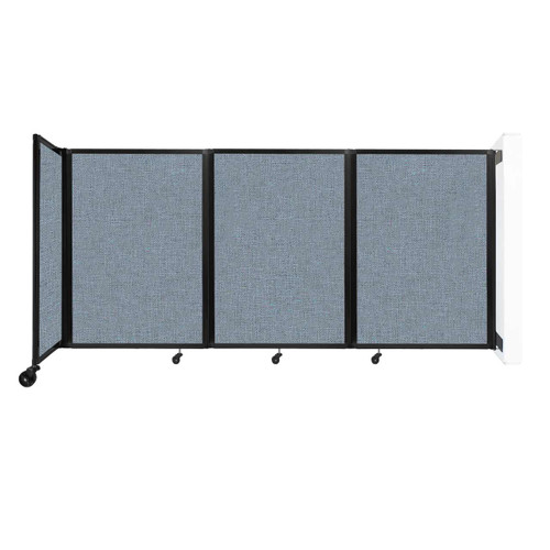 """Wall-Mounted Room Divider 360 Folding Partition 8'6"""" x 4' Powder Blue Fabric"""